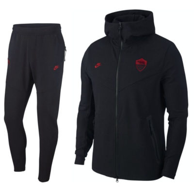 Nike AS Roma Tech Fleece Pack Trainingspak 2019-2020 Zwart Rood