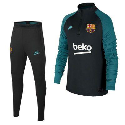 Nike FC Barcelona Strike Drill Trainingspak Champions League 2019-2020 Kids Antraciet Groen