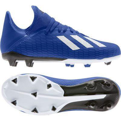 adidas X 19.3 Gras Voetbalschoenen (FG) Kids Blauw Wit Zwart