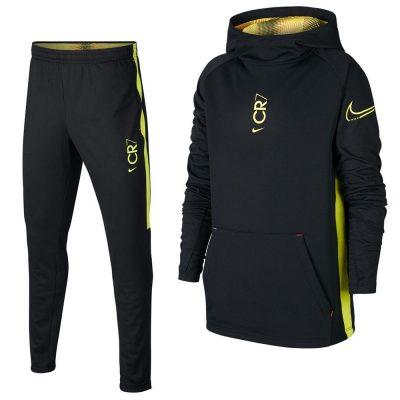 Nike CR7 Hoodie Trainingspak Kids Zwart Geel