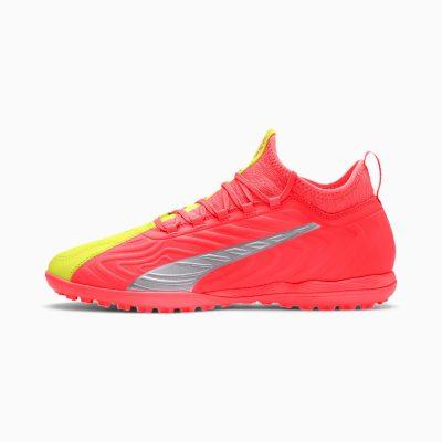 PUMA ONE 20.3 TT voetbalschoenen, Roze/Geel/Zilver,5
